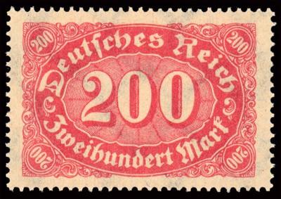 """Dt. Reich MiNr. 248b ** gepr. , 200 MK rotlila FM: Ziffern 200 MK rotlila (sogen.""""Queroffset"""")"""