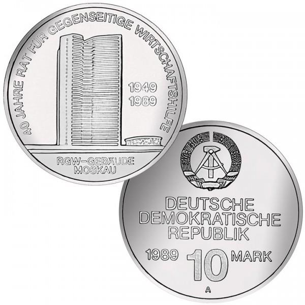 DDR Münze 1989, 10 M, st 40 Jahre RGW