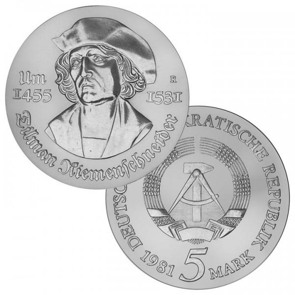 DDR Münze 1981, 5 M, PP 450. Todestag T. Riemenschneider