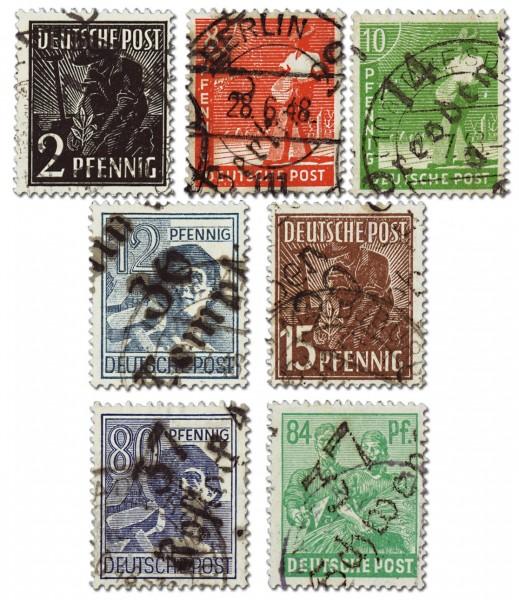 SBZ Allg.A. MiNr. 166-81 o (ohne 179) gepr. Bezirks-Handstempel-Aufdruck gemischt 16 W.