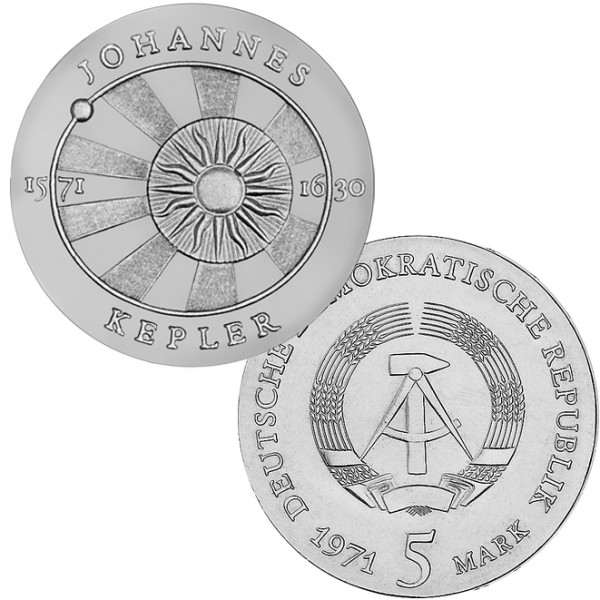 DDR Münze 1971, 5 M, st 400. Geburtstag Johannes Kepler