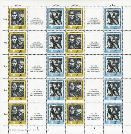 DDR Zdr.-Bg. MiNr. 1680/81 ** FIR - Widerstandskämper, inkl. Sammelblatt