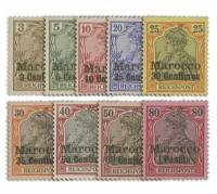 Dt. Post in Marokko MiNr. 7/15 ** Kurzsatz der Pfennigwerte, 9 Werte
