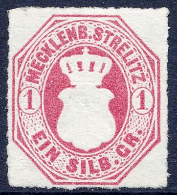 Mecklenb.-Strelitz MiNr. 4 (*) 1 Silbergroschen / dunkelrosarot