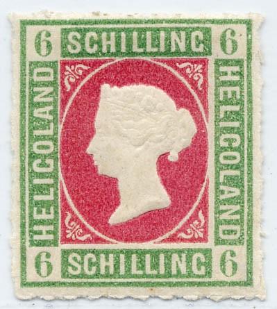 Helgoland MiNr. 4 * 6 S graugrün/lilarosa
