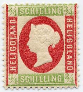 Helgoland MiNr. 9 ** 3/4 S hellgrün/rosa