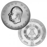 DDR Münze 1975, 5 M, st 100. Geburtstag Thomas Mann