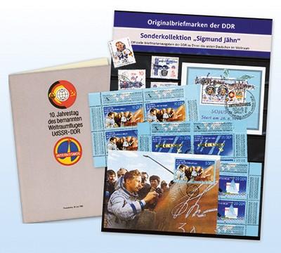 """DDR Geburtstags-Set """"Sigmund Jähn"""" mit DDR-Briefmarken zu Ehren von S. Jähn"""