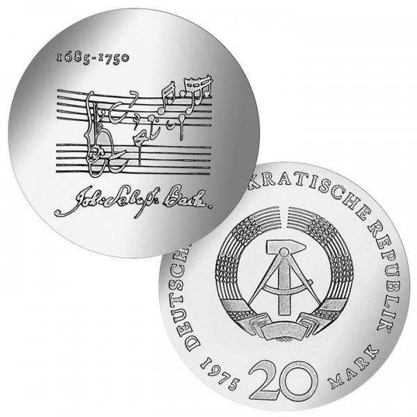 DDR Münze 1975, 20 M, st 225. Todestag Johann S. Bach