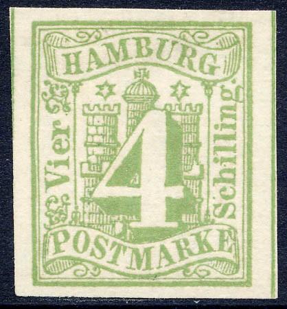 Hamburg MiNr. 5a (*) 4 Schilling / gelbgrün