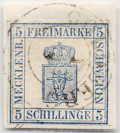 Mecklenb.-Schwerin MiNr. 3 o 5 S blau