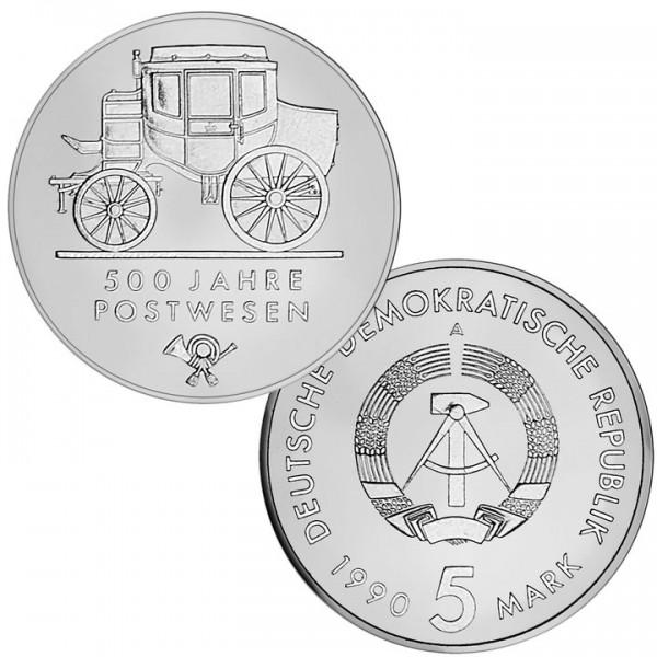 DDR Münze 1990, 5 M, PP 500 Jahre Postwesen