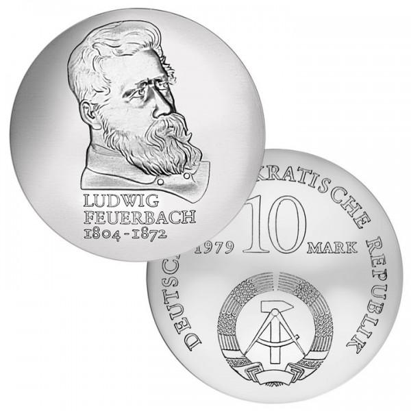 DDR Münze 1979, 10 M, st 175. Geburtstag Ludwig Feuerbach
