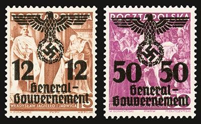 Generalgouvernement MiNr. 24II + 33II **