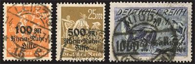 Dt. Reich MiNr. 258/60 o gepr. Rhein- u.Ruhrhilfe