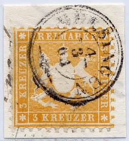 Württemberg MiNr. 22a o 3 Kreuzer, orangegelb, K10
