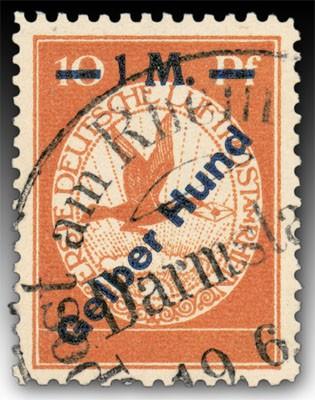 """Dt. Reich Flugpostmarken MiNr. IV o Flugpostmarke mit Aufdruck """"Gelber Hund"""""""