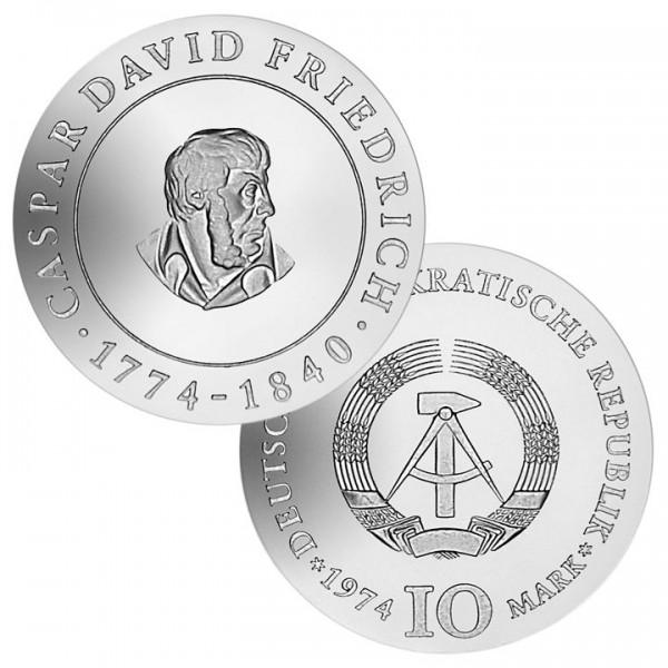 DDR Münze 1974, 10 M, st 200. Geburtstag C. D. Friedrich