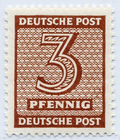 SBZ West-Sa. MiNr. 126 Y wd ** 3 Pf Freimarke Ziffern