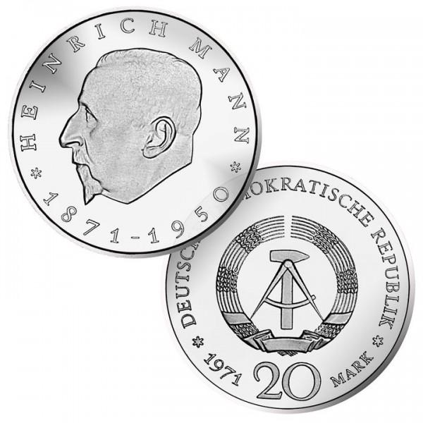 DDR Münze 1971, 20 M, vz 100. Geburtstag Heinrich Mann