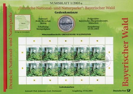 BRD Numisblatt 1/2005 Bayerischer Wald