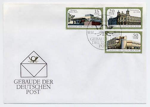 DDR FDC MiNr. 3145/47 Gebäude der Deutschen Post