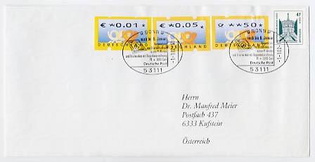 BRD ATM Echt gelaufener Kombi-Beleg mit Pf-Wert, DM/€-Ausgabe u.reinen Cent-Werten