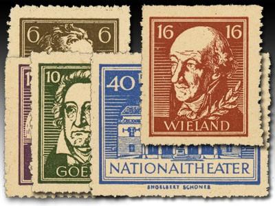 SBZ Thür. Marken aus Bl. 3 B ** MiNr. 107/11B Nationaltheater Weimar