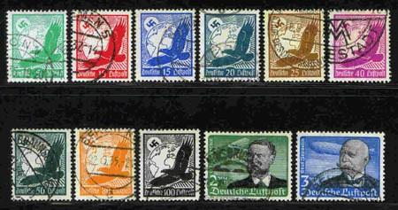Dt. Reich MiNr. 529/39x o Flugpostausgabe Lilienthal/Zeppelin