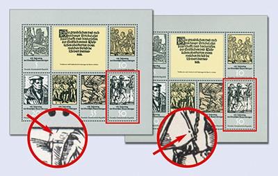 DDR Klbg. MiNr. 2013/18 ** mit PF + Vgl.-Stück 450 Jahre Bauernkrieg