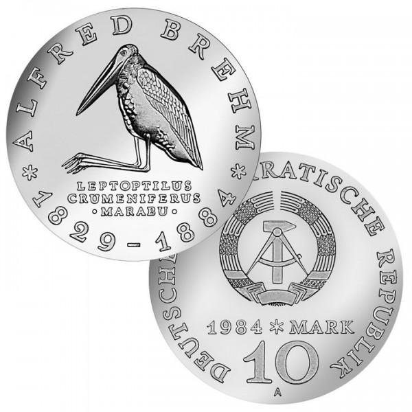 DDR Münze 1984, 10 M, st 100. Todestag Alfred Brehm