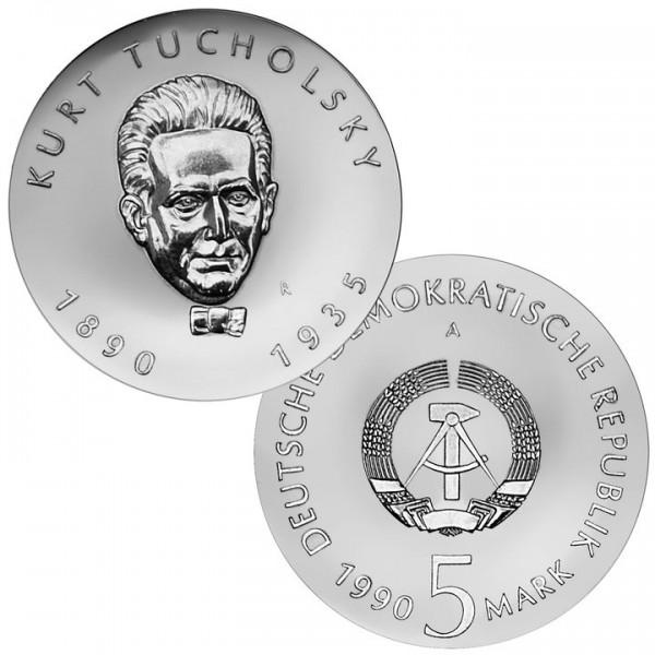 DDR Münze 1990, 5 M, st 100. Geburtstag Kurt Tucholsky