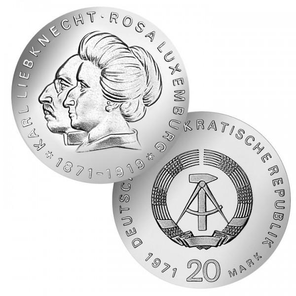 DDR Münze 1971, 20 M, st Rosa Luxemburg/Karl Liebknecht