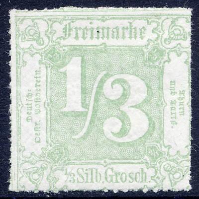 Thurn & Taxis MiNr. 36 ** 1/3 Gr., dunkelgelbgrün, durchstochen