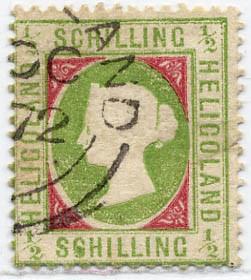 Helgoland MiNr. 6xf o 1/2 S h'gelblichgrün/karmin