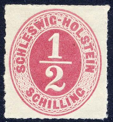 Schleswig-Holstein MiNr. 8 * 1/2 Schilling - rosalila