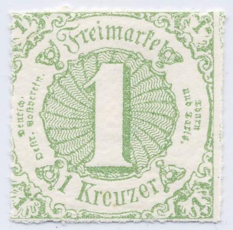 Thurn & Taxis MiNr. 41 ** 1 Kr., gelblichgrün, durchstochen