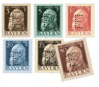 Bayern Dienstmarken MiNr. 6/11 ** Pf Werte / mit eingelochtem E / gezähnt