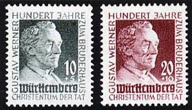 Franz.Zone Wü./Hz. MiNr. 47/48 ** 100 Jahre Gustav-Werner-Stiftung
