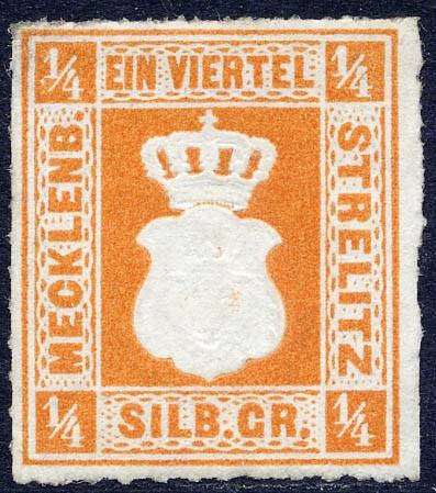 Mecklenb.-Strelitz MiNr. 1b (*) 1/4 Silbergroschen / gelborange