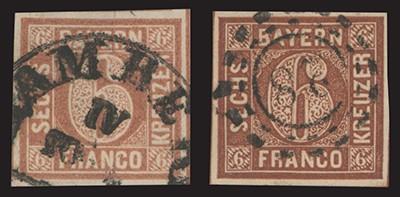 Bayern MiNr. 4I und 4II gestempelt 6-Kr.-Paar mit offenem u. geschlossenem Kreis