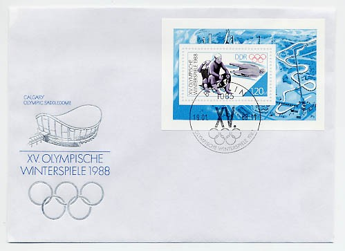 DDR FDC MiNr. 3144 Block 90 Olymp. Winterspiele Calgary