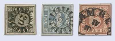 Bayern MiNr. 1I, 2I, 4I, gestempelt Die Erstausgabe vom 1. Nov. 1849
