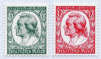 Dt. Reich MiNr. 554/55 **  175. Geburtstag Schillers
