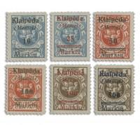 Memelgebiet MiNr. 129/134 **, 6 Werte Freimarken Litauen mit Aufdruck