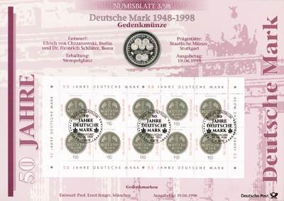 BRD Numisblatt 3/1998 50 Jahre DM