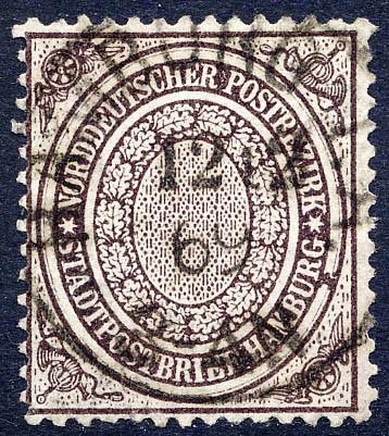 Norddeutscher Postbezirk MiNr. 24a o 1/2 Schilling / violettbraun