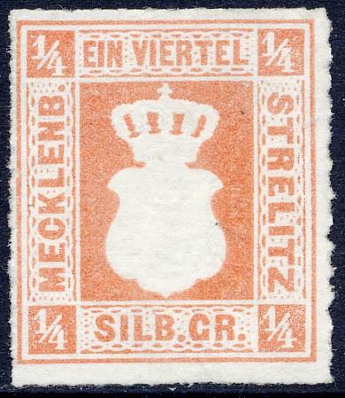 Mecklenb.-Strelitz MiNr. 1a (*) 1/4 Silbergroschen / rotorange