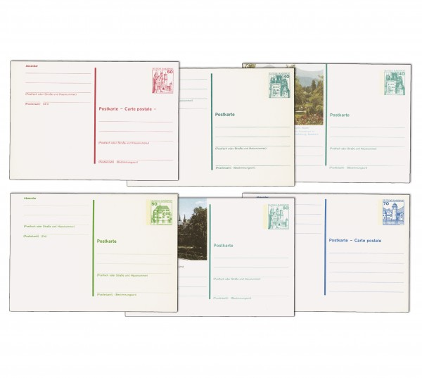 BRD Postkarten Burgen & Schlösser ** Komplette Serie P121-P138, 18 Karten