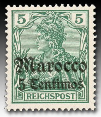 """Dt. Post in Marokko MiNr. 20 ** 5 Centimos auf Germania m.Inschrift """"Reichspost"""""""